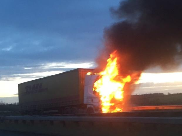 m4 lorry fire